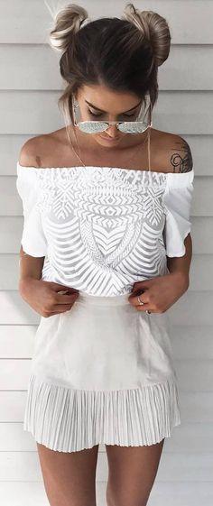 stylish white outfit idea