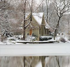 Pretty little country church in the snowy woods!