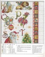 Merrie Alphabet 9 of 11 Xmas Cross Stitch, Cross Stitch Christmas Ornaments, Cross Stitch Boards, Beaded Cross Stitch, Crochet Cross, Cross Stitch Alphabet, Cross Stitch Samplers, Christmas Embroidery, Christmas Cross