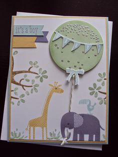 Stampin Up - Baby Card using Zoo Babies, Celebrate Today, Nuts about You and many more. Made by www.Paperecstasy.blogsopt.com