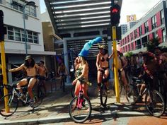 A few free spirited and brave Capetonians stripped down and hopped in the saddle to raise awareness about eco-friendly transport and cyclist safety. Check out these pics. Top Pic, Good Cause, Cape Town, Multimedia, Naked, Bicycle, Events, Travel, Bicycle Kick