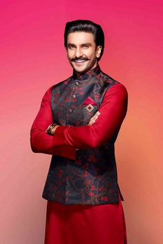 Buy Ranveer Singh Royal Red Kurta with Blue Jacket Set from our latest Collection. Select from a wide range of designer kurta pajama, dhoti kurta, indo western wear, ethnic kurta set, pathani for men online. Indian Wedding Clothes For Men, Wedding Kurta For Men, Wedding Outfits For Groom, Wedding Dress Men, Indian Wedding Outfits, Wedding Men, Wedding Sherwani, Indian Clothes, Wedding Attire
