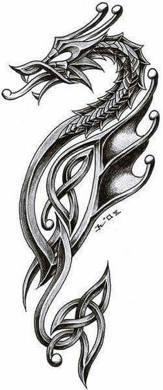 dragon in celtic style. i'm very satisfied inspiration - tattoo studio zagreb - zele celtic dragon 2 Chinese Tattoo Designs, Dragon Tattoo Designs, Celtic Dragon Tattoos, Viking Tattoos, Viking Dragon Tattoo, Tribal Dragon Tattoos, Sea Horse Tattoos, Tribal Henna, Tattoo Celtic