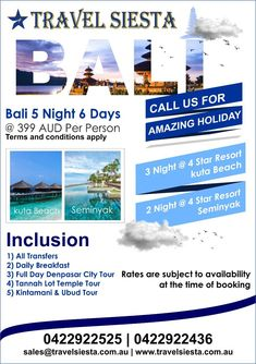 Are looking for International holidays from Australia? Travel Siesta is a leading Australia based tour operator offering wide range of international holiday packages Romantic Vacations, Family Vacations, Romantic Travel, Online Travel Booking, Airfare Deals, Kuta Beach, International Holidays, Beach Night, Best Cell Phone