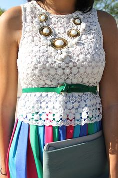 spring outfit inspiration, color outfit inspiration, statement necklace