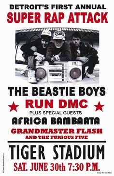 Concert poster for The Beastie Boys with Run DMC, and Grandmaster Flash at Tiger Stadium in Detroit, MI.