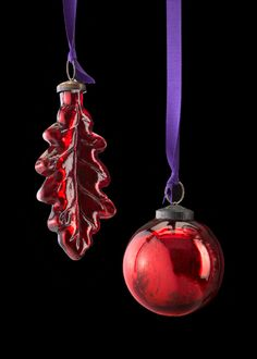 Red Mercury Glass Christmas Ball & Leaf Christmas Ornaments, JamaliGarden.com