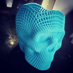 Smoothed Skull 3D print 0.2mm Layers Ocean Blue PLA by 3DXtech Printed on IDEASmachine custom 3d printer  #ideas_yoji #ideasmachine #ideasmachinegroup #3dprinting @jgeorgedesign #engineering #skull @3dxtech #pla by ideas_ash