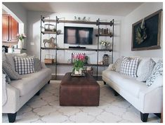 This industrial inspired DIY Pipe Shelving Entertainment Center is everything to rave about when it comes to getting ? This industrial inspired DIY Pipe Shelving Entertainment Center is everything to rave about when it comes to getting ? Industrial Entertainment Center, Diy Entertainment Center, Farmhouse Style Kitchen, Modern Farmhouse Kitchens, Rustic Farmhouse, Diy Pipe, Pipe Shelves, Farmhouse Furniture, Diy Furniture