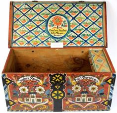 Museum quality rosemaled Norwegian wedding church trunk dated 1873 for Ingeborg Haatons and Daffer U