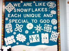 Winter Religious Bulletin Board. The snowflakes have adjectives on them that describe the student who made the snowflake. Perfect way to end our Adjective Unit. :)