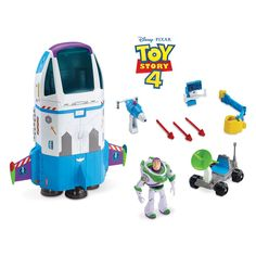 Take off on thrilling intergalactic adventures with Buzz Lightyear in his Star Command Spaceship! This stellar play set is loaded with special features, including multiple play areas, lights, sounds, modular parts and a glow-in-the-dark Buzz, who fits in the driver seat.