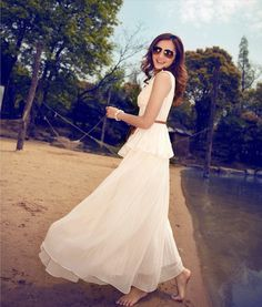 women's white beach dress/chiffon/wedding dress Boho silk Chiffon sundress dress/long dress/skirt / maxi dress/cotton skirt/Dress(285)