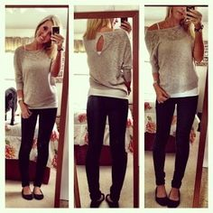 sweater, jeggings, & flats