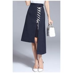 New Arrival Lace-Up Front High Low Asymmetric Hem Striped Midi Skirt ($46) ❤ liked on Polyvore featuring skirts, mullet skirt, hi low skirt, striped high low skirt, hi lo skirt and high low skirt
