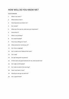 How well do think you know? Questions To Get To Know Someone, Deep Questions To Ask, Questions For Friends, Questions To Ask Your Boyfriend, Getting To Know Someone, Do You Know Me, This Or That Questions, Random Questions, Interesting Questions To Ask
