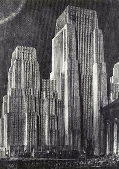 img 12_Hugh Ferriss - Projected Trends. Steel (The Metropolis of Tomorrow, 1929