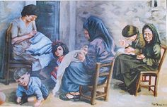 Mural of women embroidering in Sennariolo Sardinia
