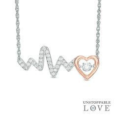 Zales Heartbeat with Hearts Necklace in Sterling Silver and 14K Rose Gold Plate g0EPVmB
