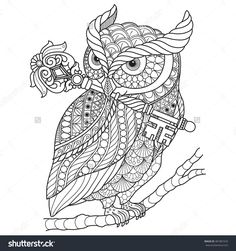 Hand drawn gorgeous Owl for color book for adult other decorations. isolated on white background. Adult coloring page.