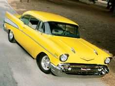 1957 Chevy Bel Air and in yellow. My dream classic car Chevrolet Bel Air, Chevrolet Chevelle, 1957 Chevy Bel Air, Chevrolet Trucks, Vintage Cars, Antique Cars, Gm Car, Automobile, Sweet Cars