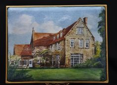 Country House - Enamel Miniature Painting by Mark D Morris. Commissioned miniature painting in enamel of an English country house. This was a great house to paint, very charming! It was a gift from a husband to his wife and the commission came via Anthony Phillips and Halcyon Days Enamels. Actual painting size is 82mm x 62mm. © MDMorris.