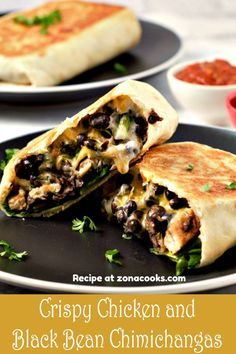 Crispy Chicken and Black Bean Chimichangas are quick and easy! This method is quick and results in an equally crispy tortilla with a satisfying chicken, cheese, and black bean filling. Healthy Light Dinners, Healthy Family Meals, Quick Meals, Light Meals For Dinner, Light Dinner Ideas, Chimichanga Recipe, Chimichangas Chicken, Breakfast Recipes, Dinner Recipes