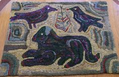 """Magdalina Briner """"Dog and Crow"""" rug - antique adaptation. Hooked by Pat Freasier"""