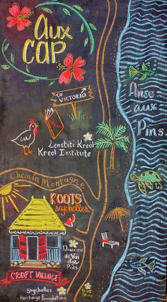Illustrated map chalkboard art by Roots Seychelles.   Made with ♥︎ from Seychelles!