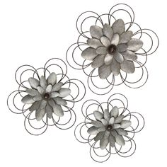 "84863 2 Maddy Galvanized Crowns Set Of HOME DECOR GRAY 6/""D X 6/""H"