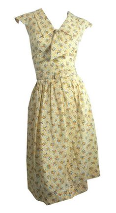 Sunshine Yellow Floral Cotton Day Dress w/ Bow circa 1960s - Dorothea's Closet Vintage