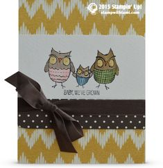 "Super sweet ""baby we've grown"" card from the retiring Stampin Up stamp set of the same name. I love these stinkin' cute owls! Colored in with ink pads and the Blender Pens. The background is the Sweet Dreams DSP and Neutrals paper stack."