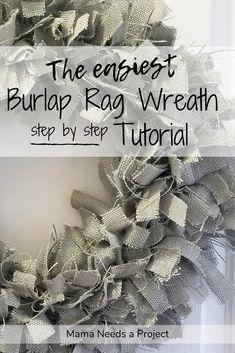 Easy Burlap Wreath, Wreath Crafts, Diy Wreath, Mesh Wreaths, Flower Wreaths, Felt Wreath, Fabric Wreath, Decor Crafts, Drop Cloth Projects