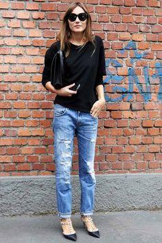 Image from http://i1196.photobucket.com/albums/aa419/lefashion/LE%20FASHION/Le-Fashion-Blog-Milan-Street-Style-Giorgia-Tordini-Cat-Eye-Sunglasses-Sweatshirt-Clutch-Bag-Ripped-Jeans-Valentino-Rockstud-Kitten-Heels.jpg.