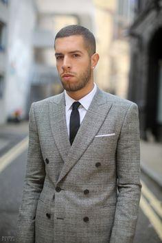 Sartorial Sunday - Mens Fashion - Grey double breasted blazer, white shirt, black tie