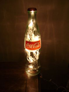 Lighted Coca-Cola Bottle Glass Decorative Coke Lamp - Great for Coke Collector. $15.00, by SchulersGlassDecor via Etsy.