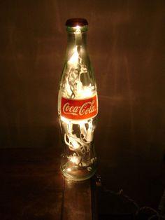 Lighted Coca-Cola Bottle Glass Decorative Coke Lamp - Great for Coke Collector. $15.00, by SchulersGlassDecor via Etsy.