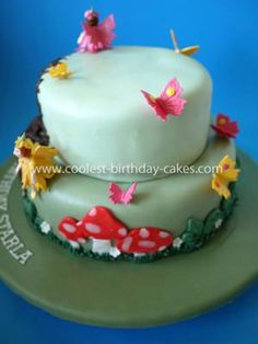 Homemade Enchanted Forest Cake: The Homemade Enchanted Forest Cake was made from two dark chocolate cakes (bottom tier 24cm, top tier 16cm). I tinted up three lot of fondant using the