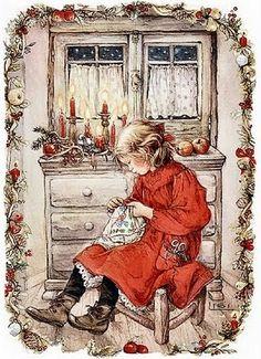 Imagen Niña de Navidad cosiendo