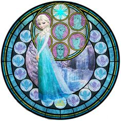 This WAS NOT the pose I wanted to use for Elsa. I wanted to use the one of her giving the sassy look while holding her snow flake D: but alas, I couldn'. Disney Princess Pictures, Disney Princess Art, Sailor Princess, Disney Stained Glass, Stained Glass Art, Disney Frozen Elsa, Disney Love, Ice Texture, Stain Glass Cross