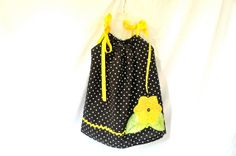 Pillowcase Dress  Black and White Polka Dot with by GoobaGear