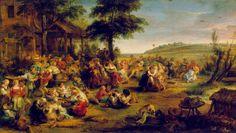PETER PAUL RUBENS (1577-1640) LA KERMESSE  Forse nessun artista è riuscito a fondere così mirabilmente come fece Rubens, l'esperienza coloristica dei veneti con la tradizione fiamminga.  Con lui il Barocco raggiunse il suo trionfo di colore, di esaltazione vitale, di slanci gioiosi. Questa movimentatissima composizione appartiene all'ultimo periodo dell'attività del Rubens cioè a circa il 1635/38. #art #oil #canvas #history #Peter