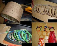 DIY Scarf Hanger made of rings of a cardboard tube all tied together and hung on… - Vibration. Diy Craft Projects, Fun Crafts, Projects To Try, Arts And Crafts, Paper Crafts, Scarf Holder, Jewelry Hanger, Diy Rings, Duct Tape