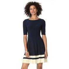 6ed52b6e43ad Women s Chaps Striped Fit  amp  Flare Dress Half Sleeve Dresses