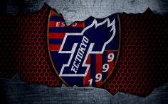 Download wallpapers FC Tokyo, 4k, logo, art, J-League, soccer, football club, Tokyo, metal texture