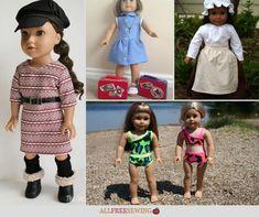 30+ American Girl Doll Sewing Patterns Doll Dress Patterns, Sewing Patterns For Kids, Sewing Projects For Kids, Sewing For Kids, Free Sewing, Clothing Patterns, Girl Doll Clothes, Girl Dolls, American Girl Diy