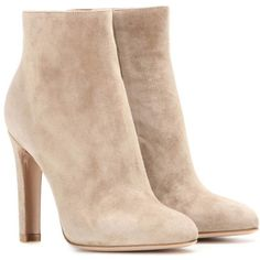 Gianvito Rossi Dana High Bootie Suede Ankle Boots ($985) ❤ liked on Polyvore featuring shoes, boots, ankle booties, beige, beige booties, suede boots, short suede boots, ankle boots and suede booties