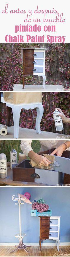 Pintar un mueble con chalk paint en spray Unique Furniture, Repurposed Furniture, Painted Furniture, Home Furniture, Spray Chalk, Chalk Paint, Spray Painting, Painting Tips, Paint Companies