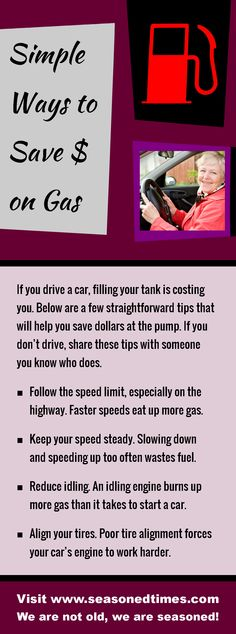 """Tips for spending less on gas. Seasoned Times celebrates the """"seasoned times"""" of life while encouraging wise, healthy aging. WE ARE NOT OLD, WE ARE SEASONED! For seniors, boomers and everyone 55+."""