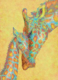 Aqua And Orange Giraffes Digital Art by Jane Schnetlage - Aqua And Orange Giraffes Fine Art Prints and Posters for Sale